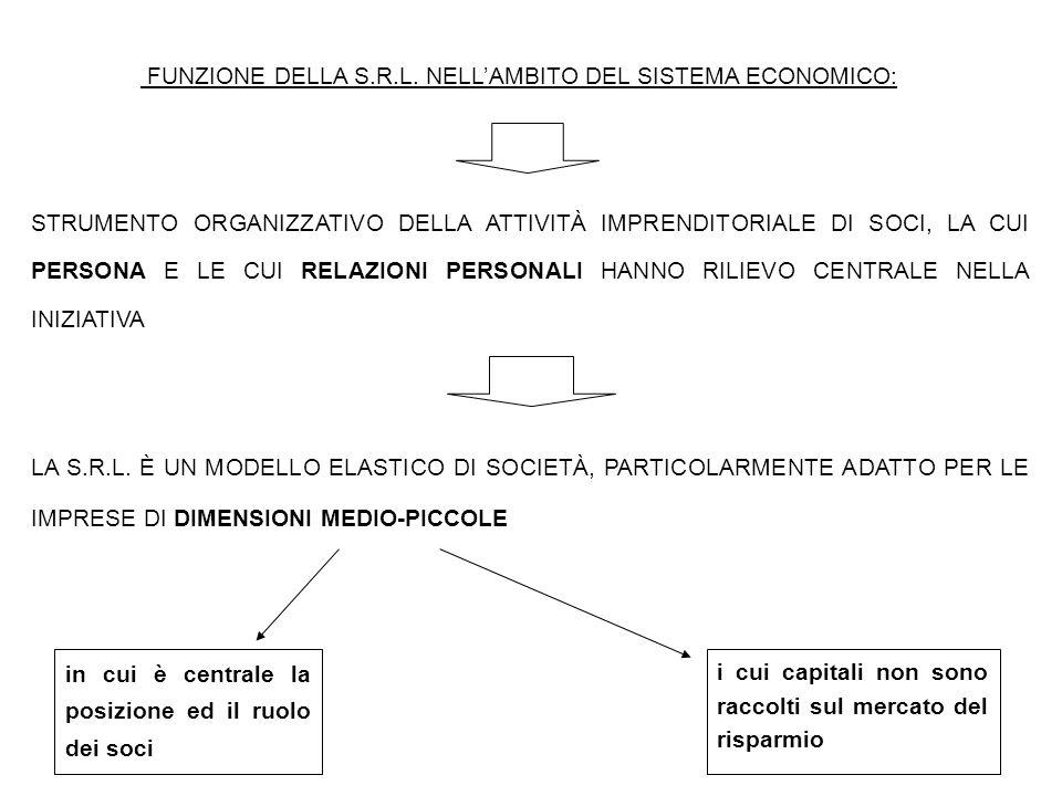 FUNZIONE DELLA S.R.L. NELL'AMBITO DEL SISTEMA ECONOMICO: