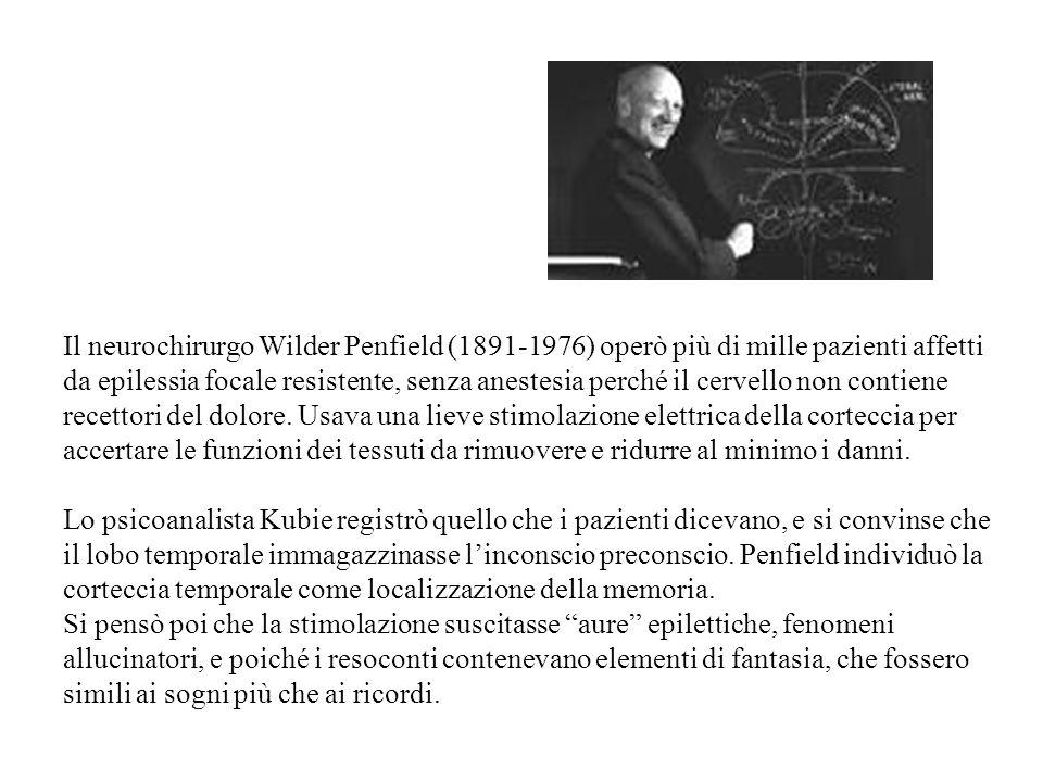 Il neurochirurgo Wilder Penfield (1891-1976) operò più di mille pazienti affetti da epilessia focale resistente, senza anestesia perché il cervello non contiene recettori del dolore. Usava una lieve stimolazione elettrica della corteccia per accertare le funzioni dei tessuti da rimuovere e ridurre al minimo i danni.
