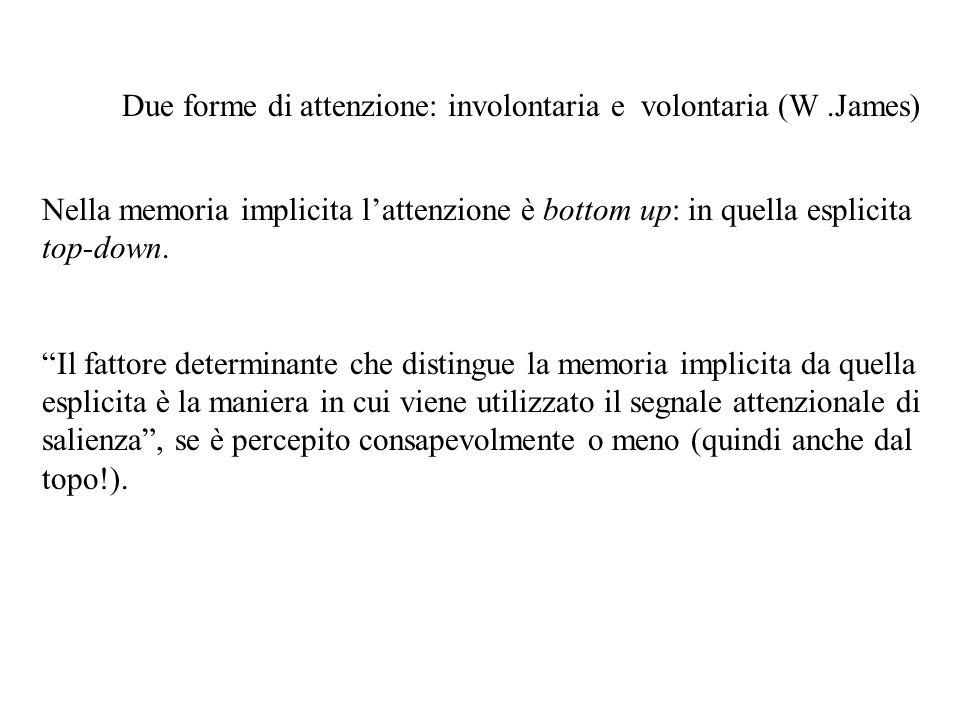 Due forme di attenzione: involontaria e volontaria (W .James)