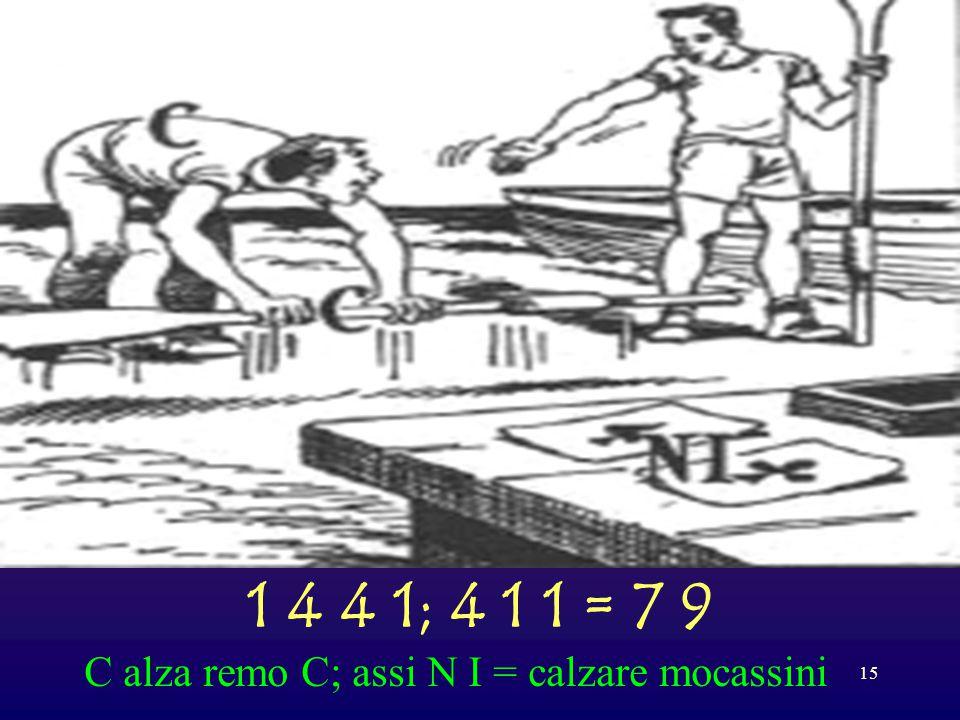 1 4 4 1; 4 1 1 = 7 9 C alza remo C; assi N I = calzare mocassini