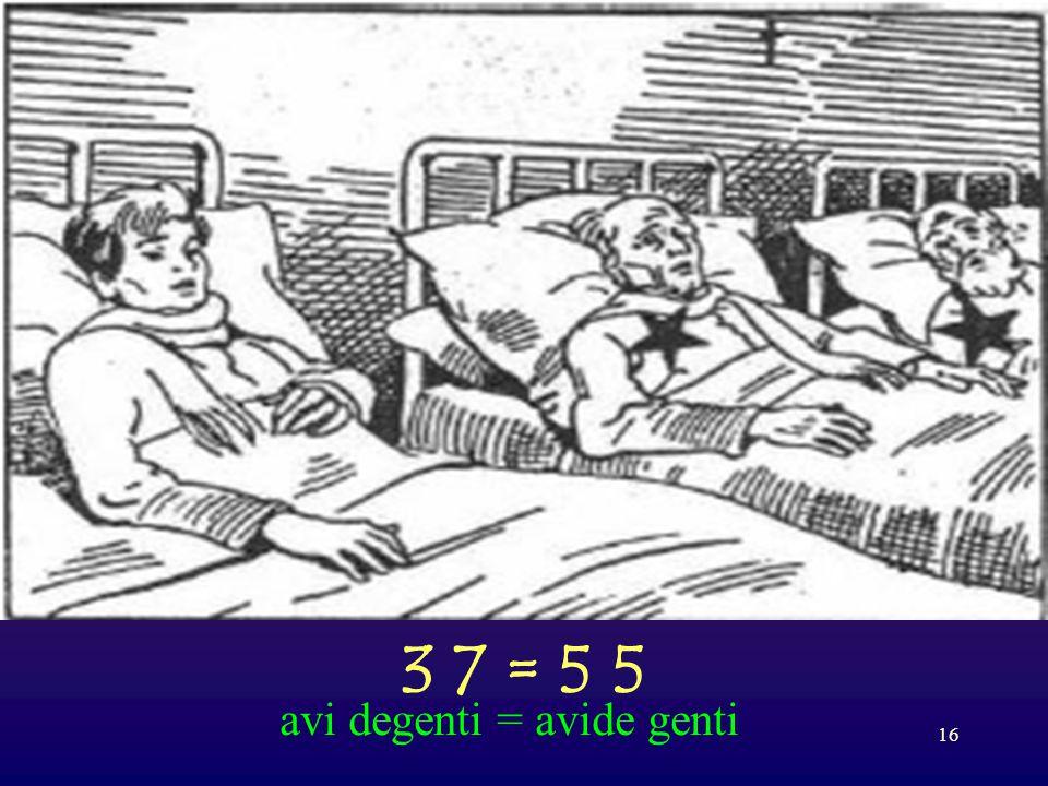 3 7 = 5 5 avi degenti = avide genti
