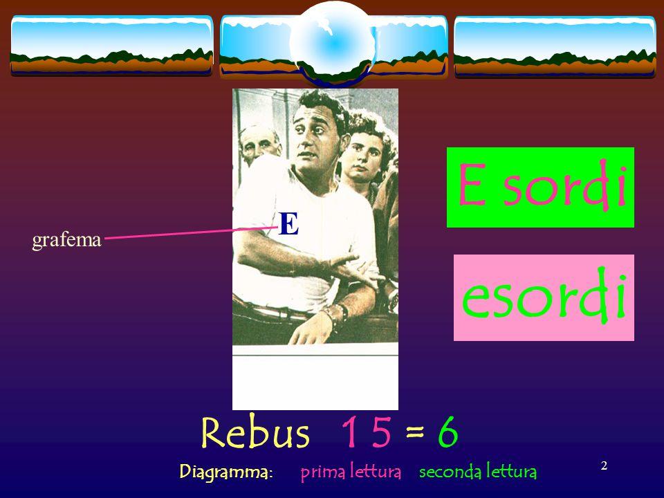 Rebus 1 5 = 6 Diagramma: prima lettura seconda lettura