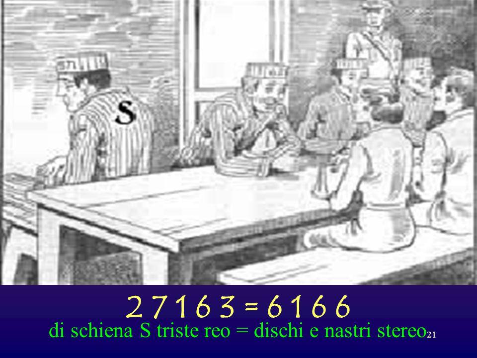 2 7 1 6 3 = 6 1 6 6 di schiena S triste reo = dischi e nastri stereo
