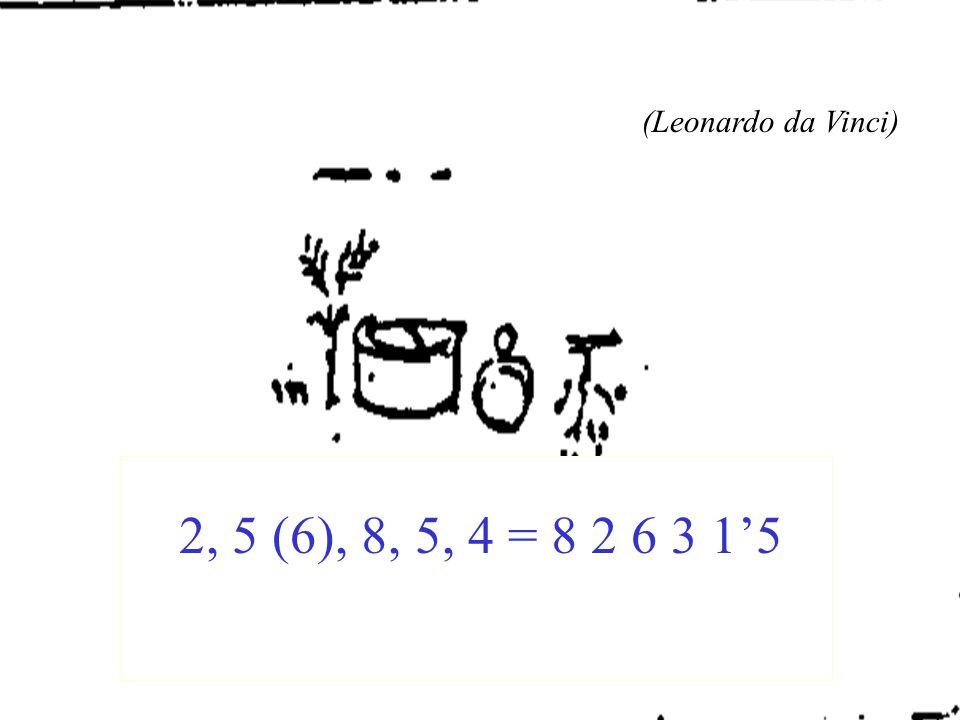 (Leonardo da Vinci) 2, 5 (6), 8, 5, 4 = 8 2 6 3 1'5
