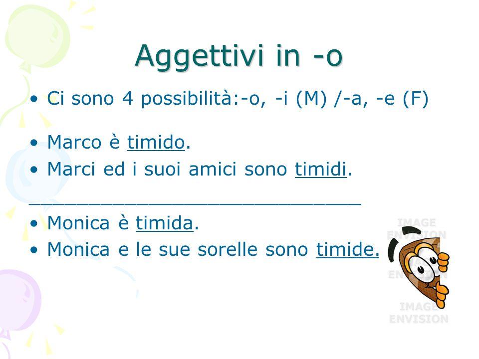 Aggettivi in -o Ci sono 4 possibilità:-o, -i (M) /-a, -e (F)