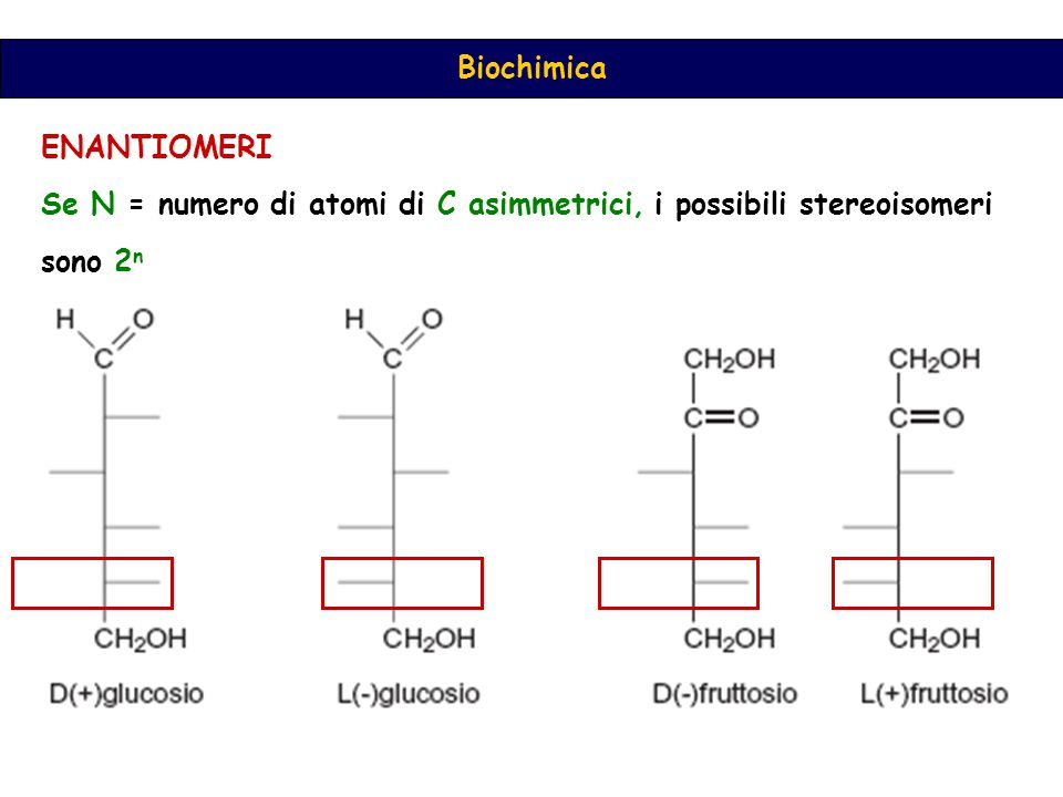 ENANTIOMERI Se N = numero di atomi di C asimmetrici, i possibili stereoisomeri sono 2n