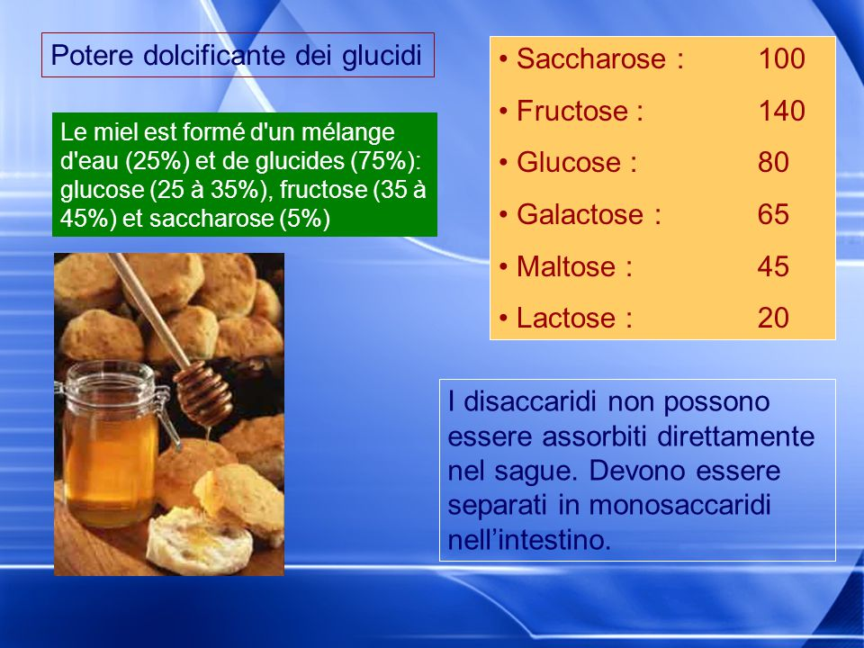 Potere dolcificante dei glucidi Saccharose : 100 Fructose : 140