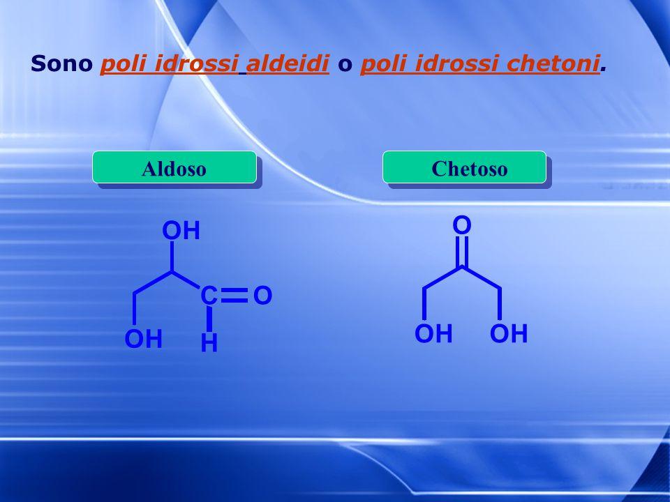 O H O H C Sono poli idrossi aldeidi o poli idrossi chetoni. Aldoso