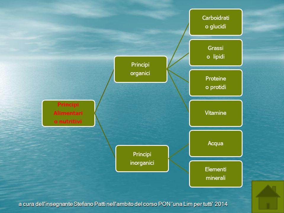 Alimentari o nutritivi. Principi. organici. o glucidi. Carboidrati. o lipidi. Grassi. o protidi.