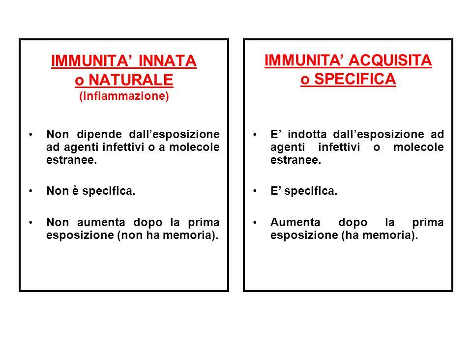 IMMUNITA' INNATA o NATURALE (infiammazione)