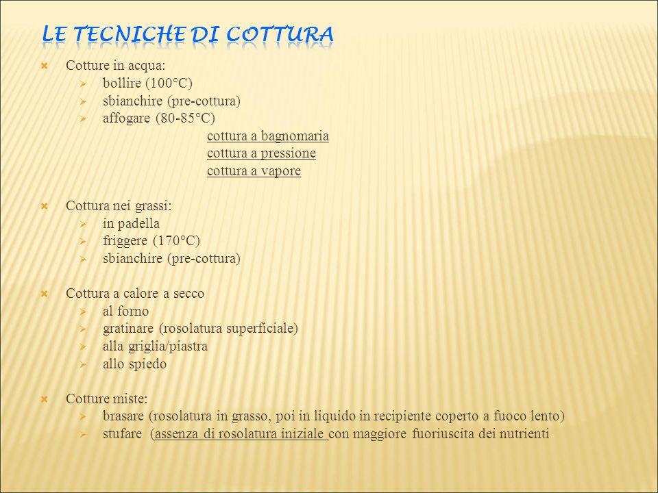 LE TECNICHE DI COTTURA Cotture in acqua: bollire (100°C)