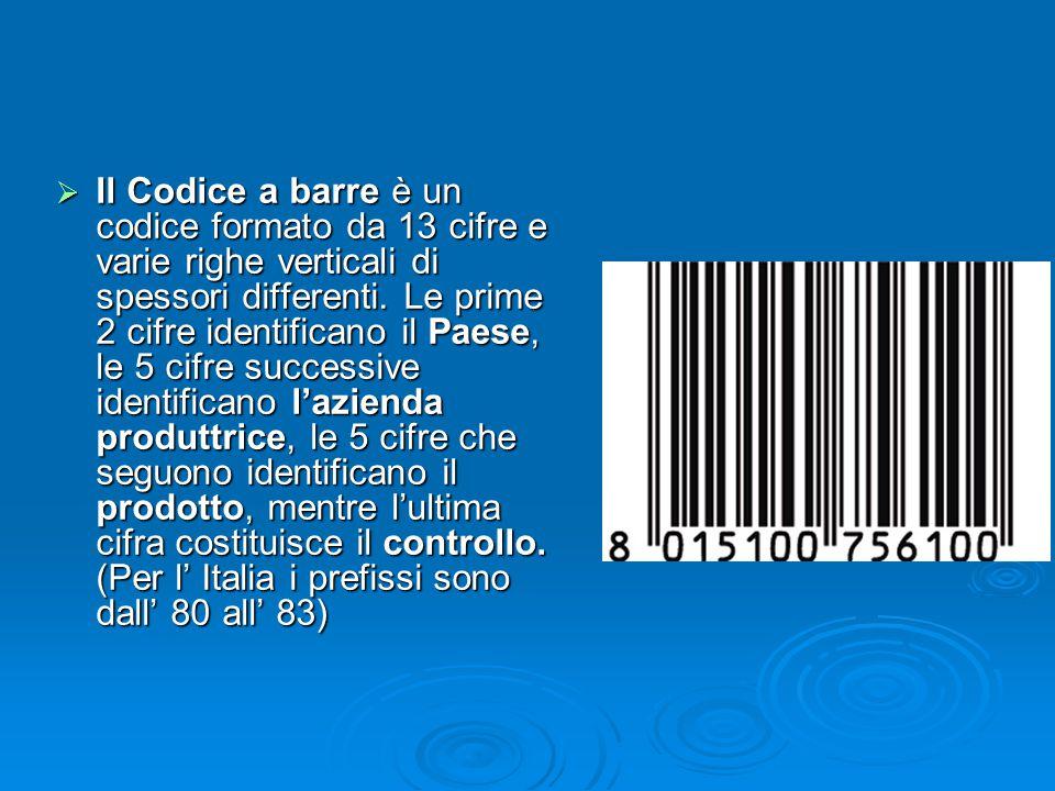 Il Codice a barre è un codice formato da 13 cifre e varie righe verticali di spessori differenti.