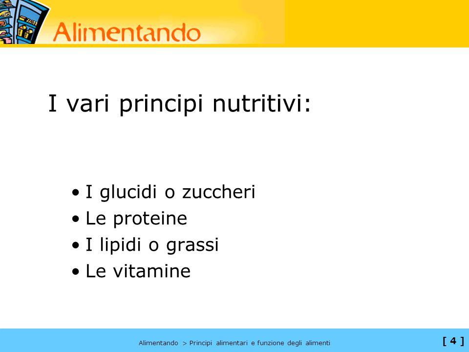 I vari principi nutritivi: