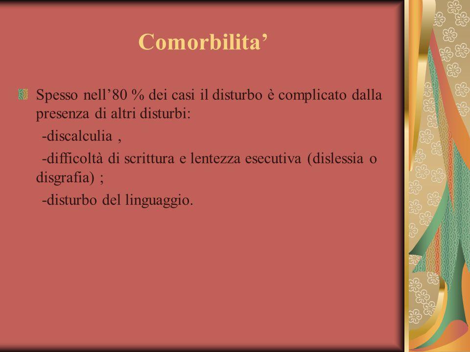Comorbilita' Spesso nell'80 % dei casi il disturbo è complicato dalla presenza di altri disturbi: -discalculia ,