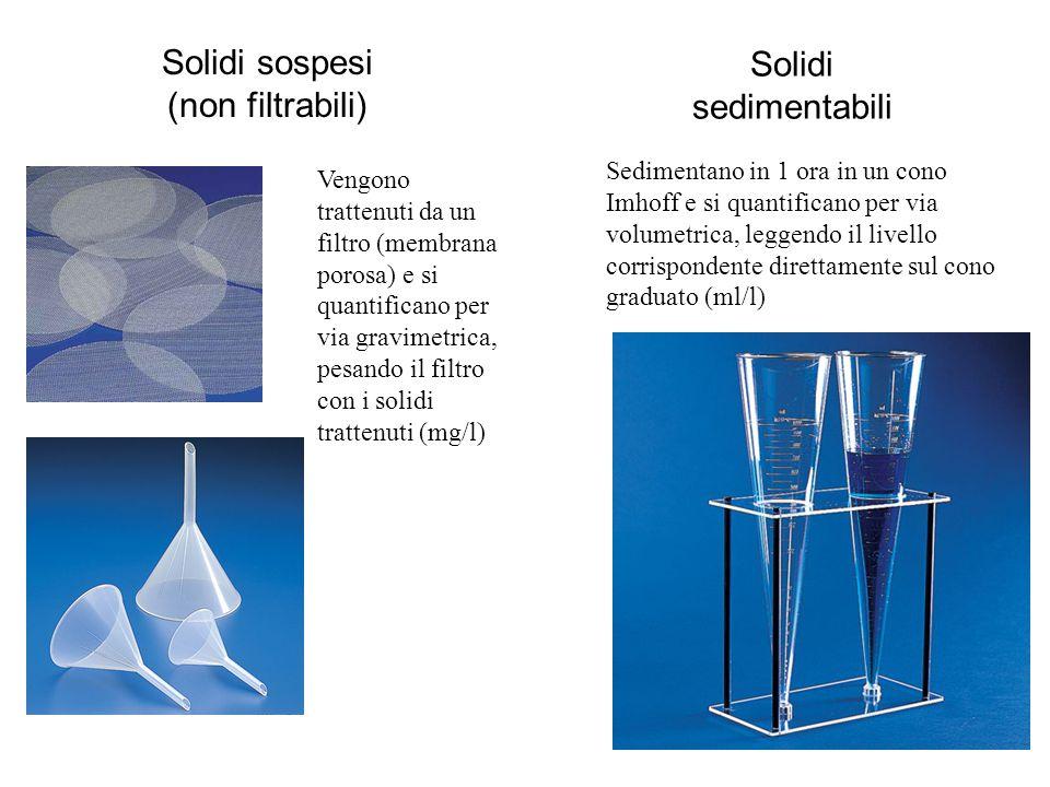 Solidi sospesi Solidi sedimentabili (non filtrabili)