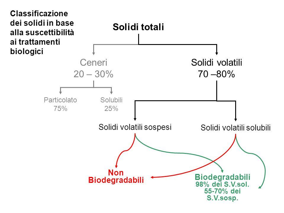 Solidi totali Ceneri 20 – 30% Solidi volatili 70 –80%