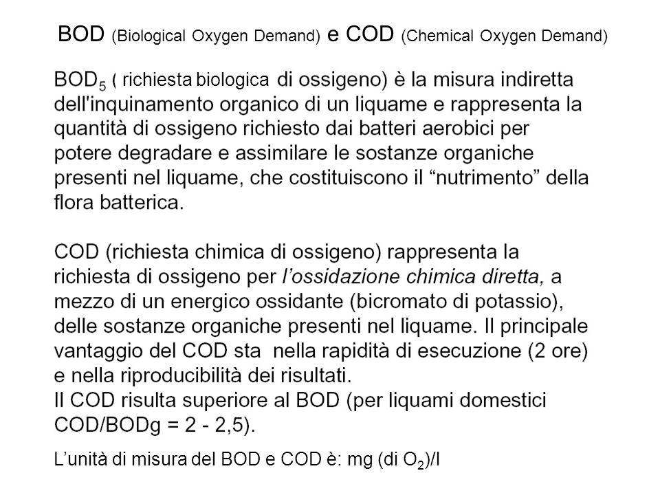 BOD (Biological Oxygen Demand) e COD (Chemical Oxygen Demand)