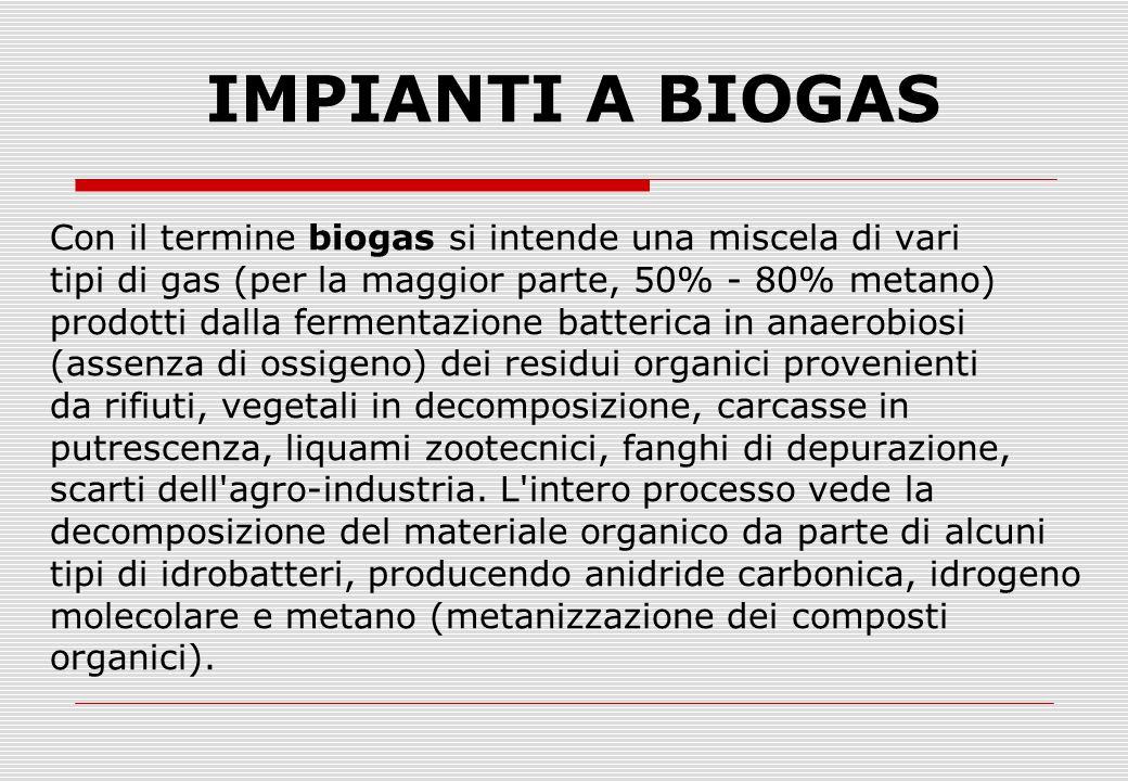 IMPIANTI A BIOGAS Con il termine biogas si intende una miscela di vari