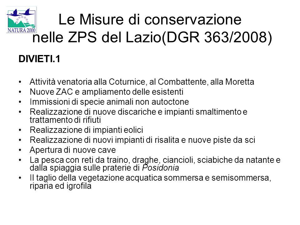 Le Misure di conservazione nelle ZPS del Lazio(DGR 363/2008)