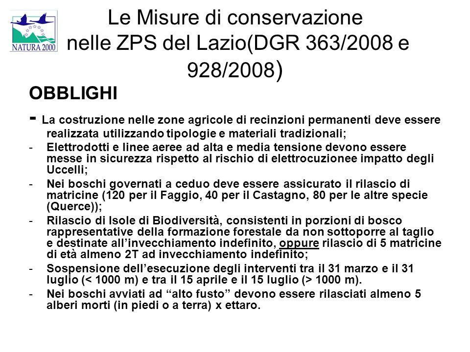 Le Misure di conservazione nelle ZPS del Lazio(DGR 363/2008 e 928/2008)