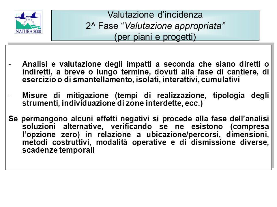 Valutazione d'incidenza 2^ Fase Valutazione appropriata (per piani e progetti)