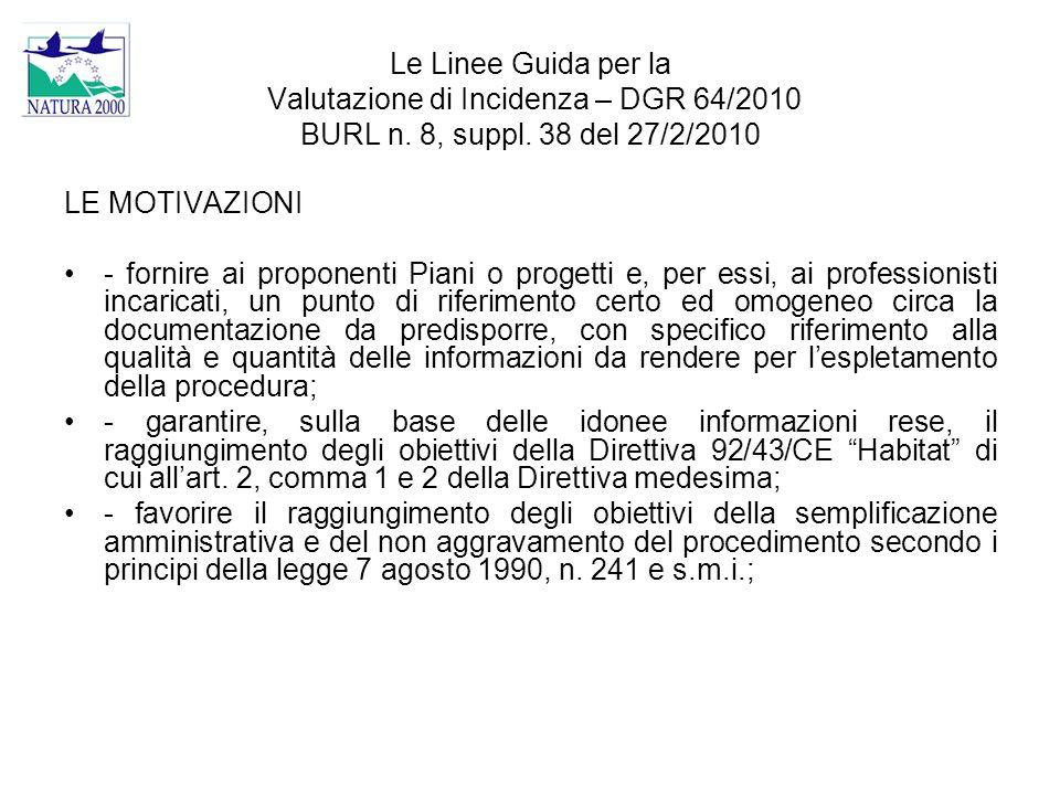 Le Linee Guida per la Valutazione di Incidenza – DGR 64/2010 BURL n