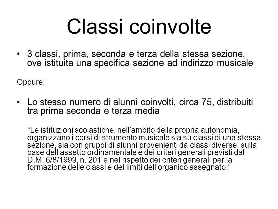Classi coinvolte 3 classi, prima, seconda e terza della stessa sezione, ove istituita una specifica sezione ad indirizzo musicale.