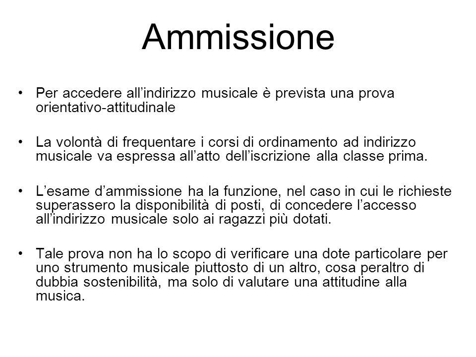 Ammissione Per accedere all'indirizzo musicale è prevista una prova orientativo-attitudinale.