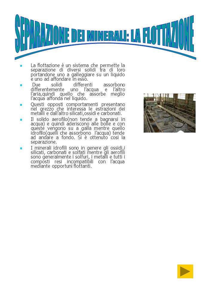SEPARAZIONE DEI MINERALI: LA FLOTTAZIONE
