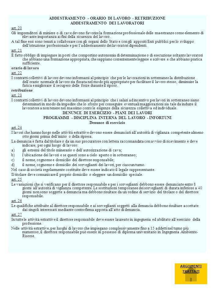 ADDESTRAMENTO - ORARIO DI LAVORO - RETRIBUZIONE