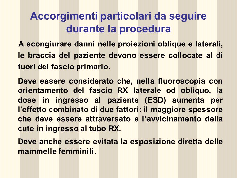 Accorgimenti particolari da seguire durante la procedura