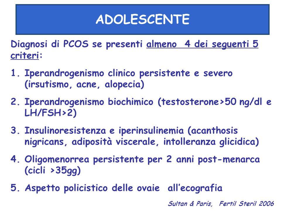 ADOLESCENTE Diagnosi di PCOS se presenti almeno 4 dei seguenti 5 criteri: