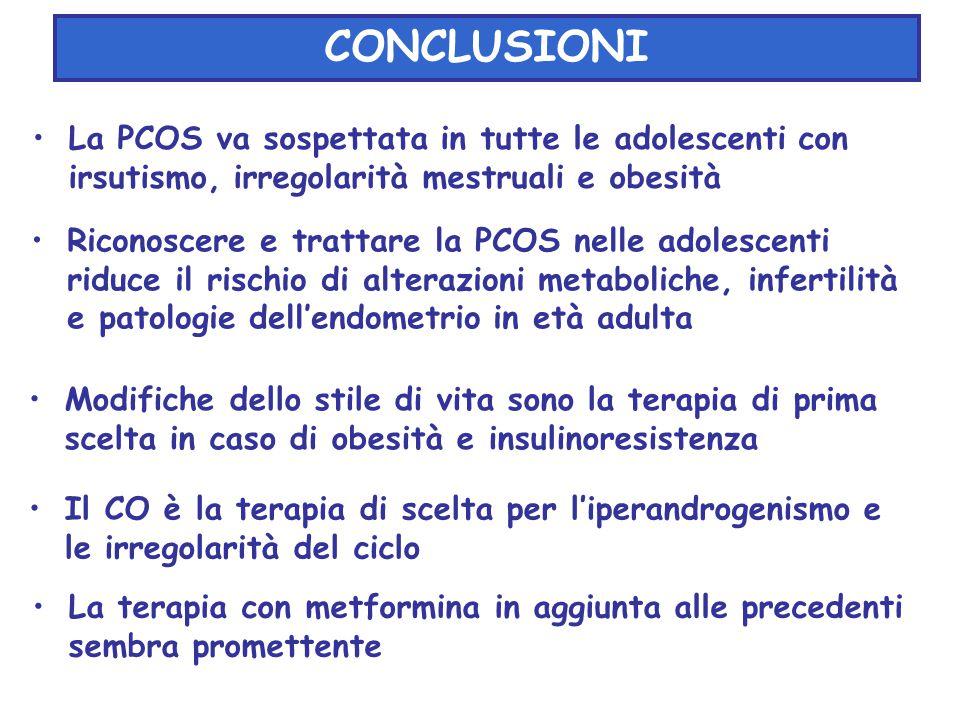 CONCLUSIONI La PCOS va sospettata in tutte le adolescenti con irsutismo, irregolarità mestruali e obesità.