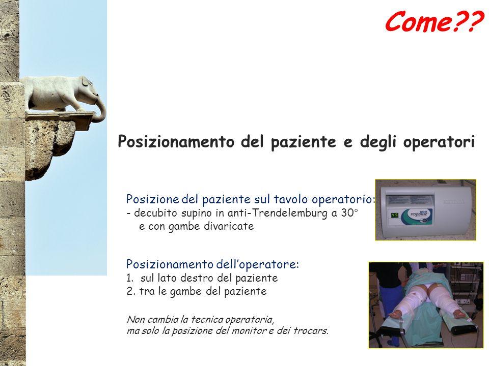 Posizionamento del paziente e degli operatori