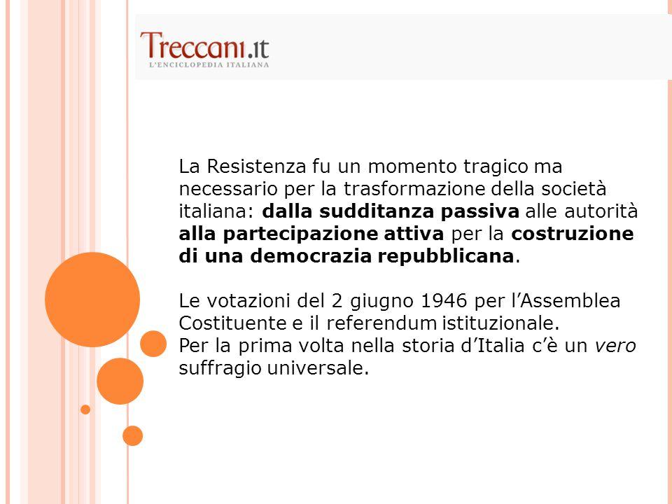 La Resistenza fu un momento tragico ma necessario per la trasformazione della società italiana: dalla sudditanza passiva alle autorità alla partecipazione attiva per la costruzione di una democrazia repubblicana.