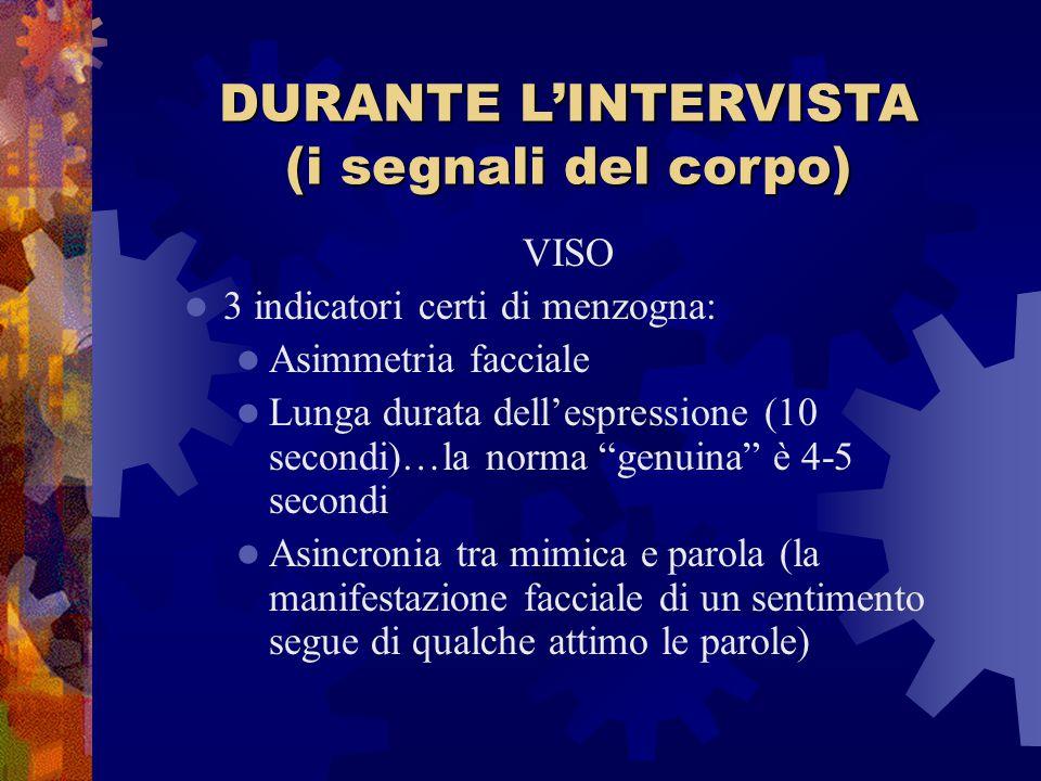 DURANTE L'INTERVISTA (i segnali del corpo)
