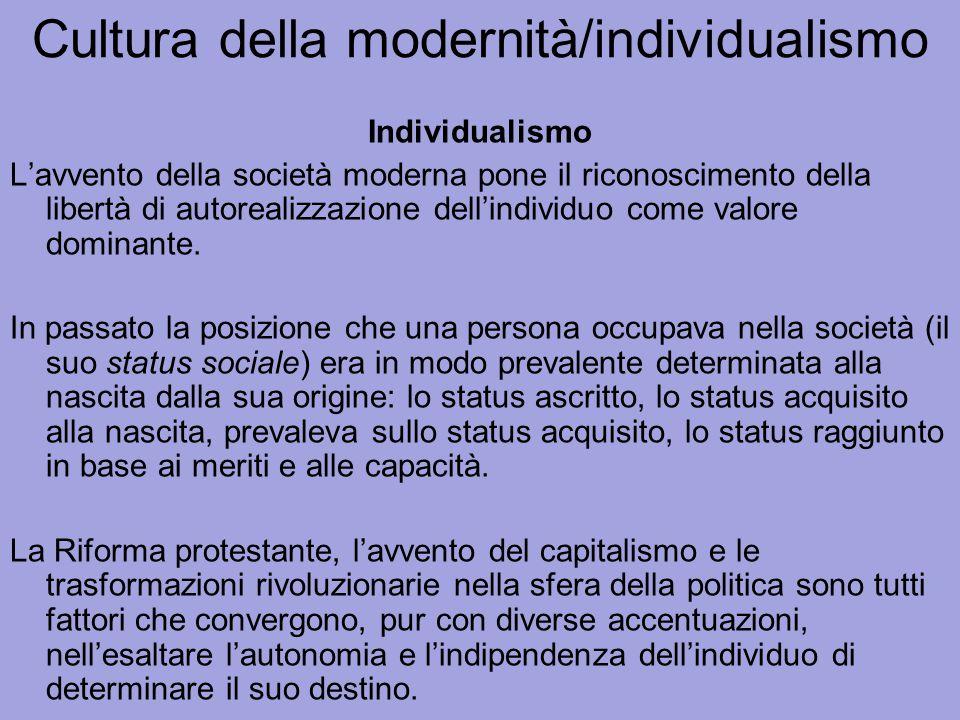 Cultura della modernità/individualismo