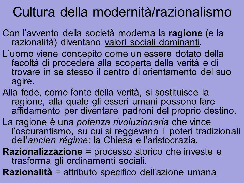 Cultura della modernità/razionalismo