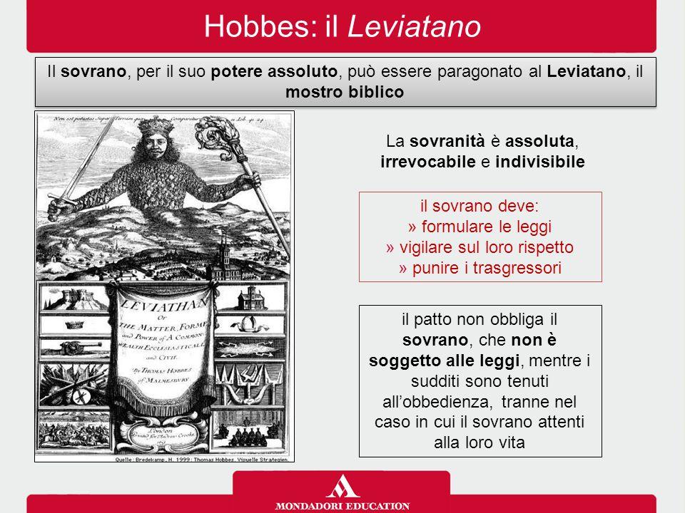 Hobbes: il Leviatano Il sovrano, per il suo potere assoluto, può essere paragonato al Leviatano, il mostro biblico.