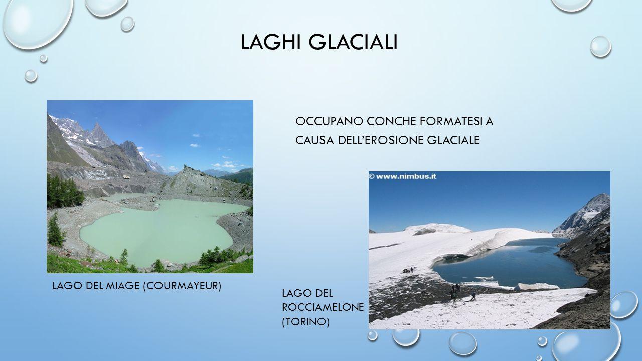 LAGHI GLACIALI occupano conche formatesi a causa dell'erosione glaciale. LAGO DEL MIAGE (COURMAYEUR)
