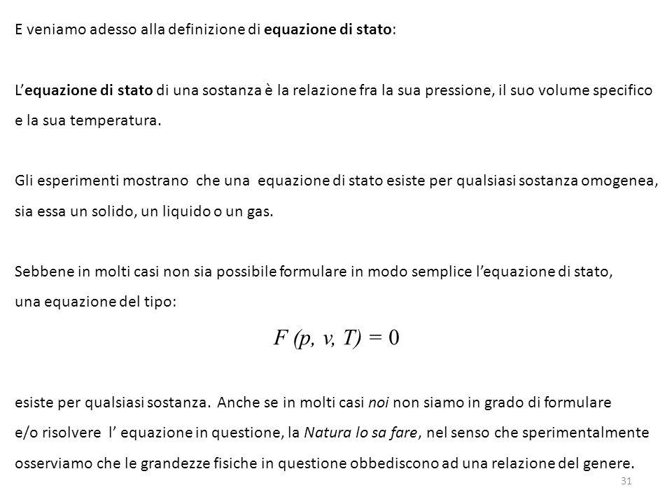E veniamo adesso alla definizione di equazione di stato: