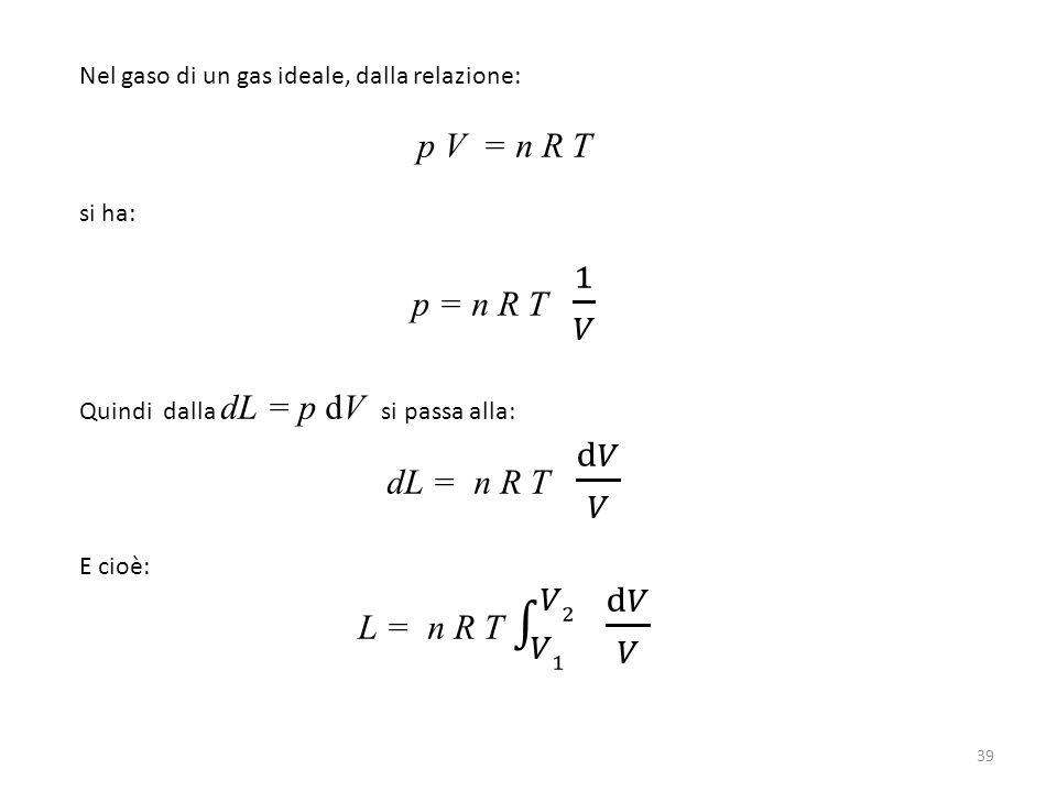 p V = n R T p = n R T 1 𝑉 dL = n R T d𝑉 𝑉 L = n R T 𝑉1 𝑉2 d𝑉 𝑉