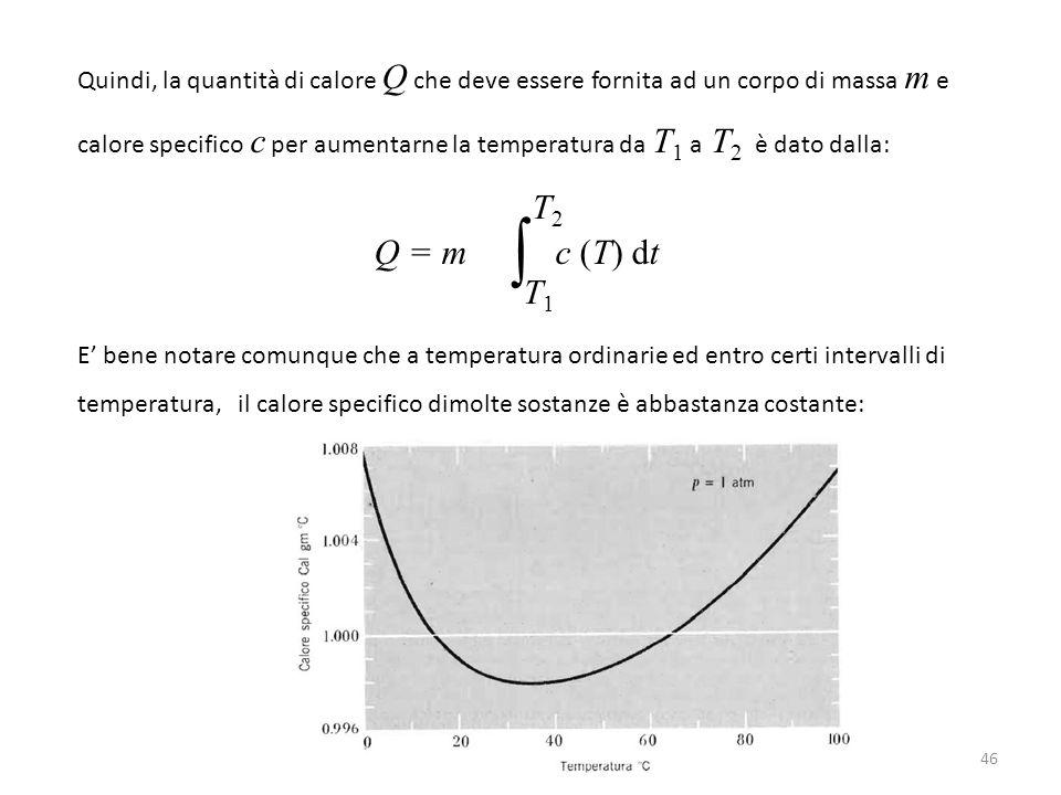 Quindi, la quantità di calore Q che deve essere fornita ad un corpo di massa m e