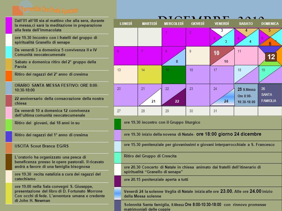 DICEMBRE 2010 Appuntamenti