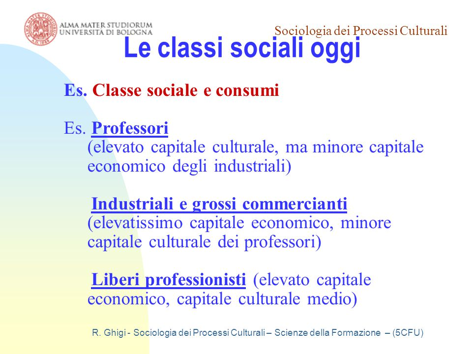 Le classi sociali oggi Es. Classe sociale e consumi Es. Professori