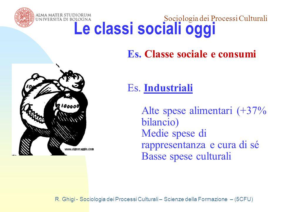Le classi sociali oggi Es. Classe sociale e consumi Es. Industriali