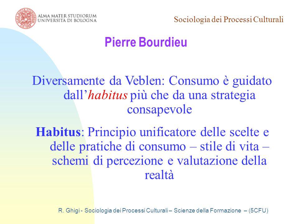 Sociologia Generale 19/03/07. Pierre Bourdieu. Diversamente da Veblen: Consumo è guidato dall'habitus più che da una strategia consapevole.
