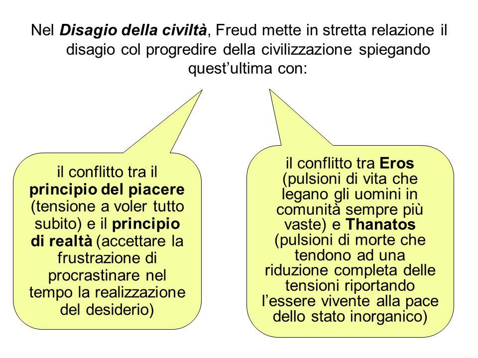 Nel Disagio della civiltà, Freud mette in stretta relazione il disagio col progredire della civilizzazione spiegando quest'ultima con: