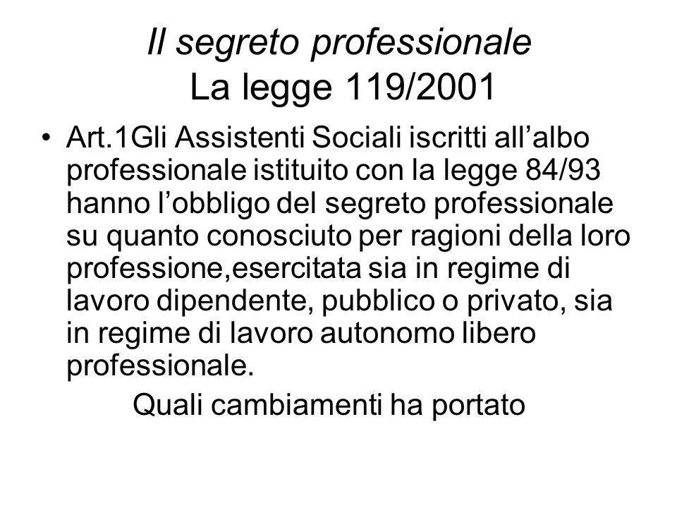 Il segreto professionale La legge 119/2001