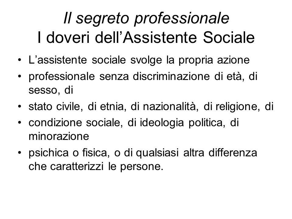Il segreto professionale I doveri dell'Assistente Sociale